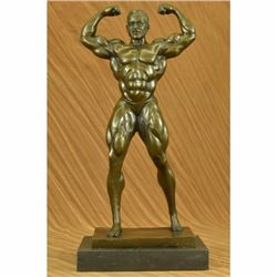 Original Art Deco Large Muscle Man Bronze Sculpture Statue Figurine Home Decor