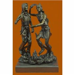 Art Deco Western West Native American Dancers Bronze Sculpture Statue Figurine