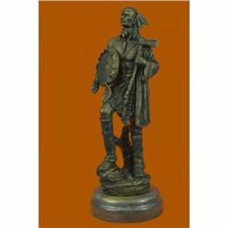 Signed Original B.wood American Indian Warrior Bronze Sculpture Marble Statue