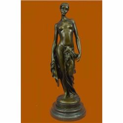 Proud and Confident Nude Roman Goddess Bronze Sculpture Marble Base Figurine
