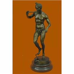 Signed Snake Charmer by Bourgeois Bronze Sculpture Marble Base Figurine Figure