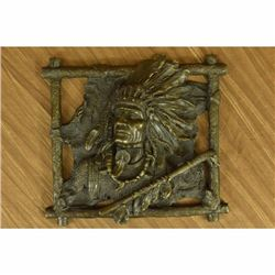 Wall Mount Native Indian Chief with peace Pipe Bronze Sculpture Statue Figurine
