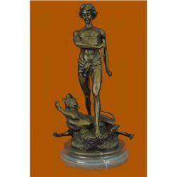 Nude Male Killing Lion Bronze Sculpture by Potet Mythical Figurine Statue Figure