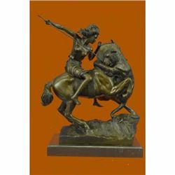 Karl Kiss Female Amazon Warrior on Horse Bronze Sculpture Marble Statue Figurine