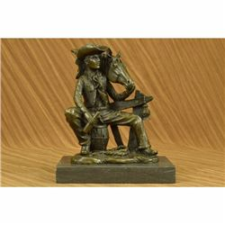 Signed Original Cowboy Sitting on Barrel Drinking Whisky Bronze Sculpture Statue