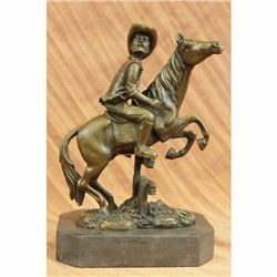 Signed Hot Cast Cowboy Western Art Old West Bronze Sculpture Marble Figurine NR