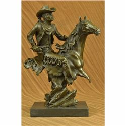 Abstract Modern Art Original Kamiko Outlaw Cowboy Horse Gun Bronze Sculpture LRG