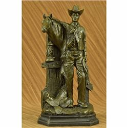 Signed Original Cowboy Horse Western Bronze Sculpture Statue Figure Figurine Art