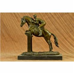 Hot Cast Original American artist Fisher Jockey Bronze Sculpture Marble Statue