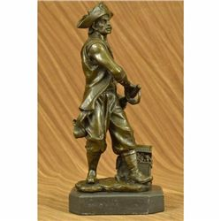Signed Original Pirate With Jewelry Chest and Sword Bronze Sculpture Statue Gift