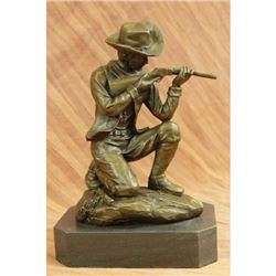 Western Art Deco Cowboy W/ Gun Bullet Rifle Shooting Range Bronze Sculpture LRGONZE CANDLE HOLDER AR