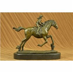 Art Deco Western Art Girl Jockey Racing Horse Bronze Sculpture Statue Hotcast