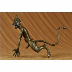 Collector Edition Signed Satyr Faun Devil Devilish Bronze Sculpture Figure