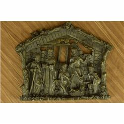 Religious Wall Hanging Plaque of Birth of Jesus Christ - Solid Bronze Sculpture
