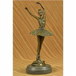 Signed Original Prima Ballerina Dancer Bronze Sculpture Art Deco Figurine Figure