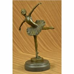 Tall Classical Dancer Ballerina Signed Bronze Sculpture Figure Art Deco Figure