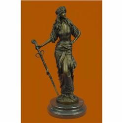 Persian Princess With Sword Bronze Sculpture Marble Base Figurine Figure Decor