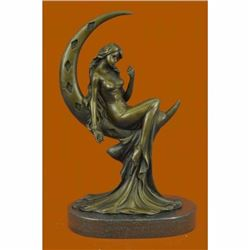 Signed Moreau Sexy Woman On Moon Bronze Classic Sculpture Figurine Figure Sale