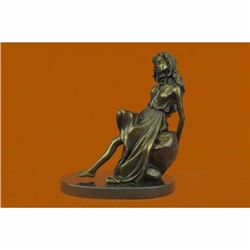 Sexy Lady Lying on Rock Bronze Sculpture Statue Marble Base Figurine Decor Sale