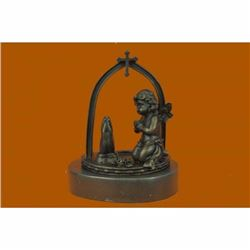 Solid Praying Baby Angel Bronze Sculpture Religious Statue Gift Idea Deal Figure