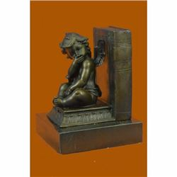Signed Moreau French Artist Baby Angel Bookend Book end Bronze Sculpture