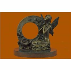 Hot Cast Detailed Fairy Bronze Sculpture Marble Base Figurine Figure Decoration