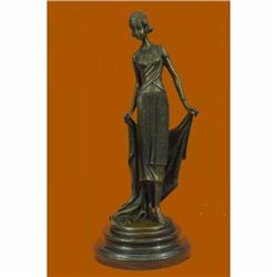 High Society Lady Is Poised And Elegant Dressed Bronze Sculpture Marble Base Art