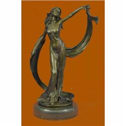 Signed Original Kassin Ribbon Goddess With Long Gown Bronze Sculpture Figurine