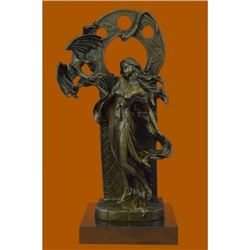A Bronze Sculpture Of Mythical Dragon And Woman by French Artisan Jean Patoue