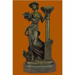 Victorian Style Captive Lady Holding Bouquet of Flowers Bronze Sculpture Figure