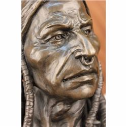 ORIGINAL PURE BRONZE RED INDIAN CHIEF AMAZING DETAIL NR SCULPTURE ART