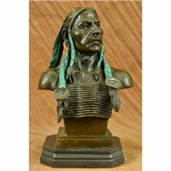 Rare Indian Native American Art Chief Eagle Bust Bronze Marble Statue Bust Gift