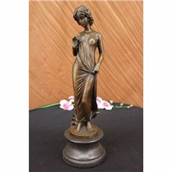 Bronze Sculpture Young lady Gazes into a Flower by Moreau Art Nouveau Deco Decor