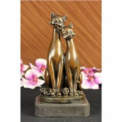 OLD CAT BRONZE SIGNED FIGURINE ON BASE CATS ART DECO TWO CAT SCULPTURE