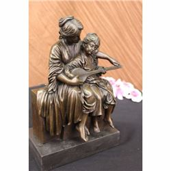 Signed Original Milo Mother teaches her Daughter Instrument Bronze Sculpture Art