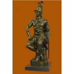 SIGNED BRONZE SCULPTURE ROMAN GLADIATOR MALE WARRIOR STATUE COLLECTOR EDITION