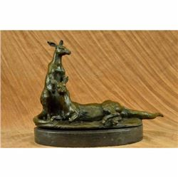 Lovely Contemporary Two Australian Kangaroos Bronze Sculpture Marble Statue Gift