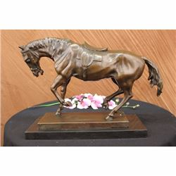 Extra Large Original Bronze Sculpture Horse Trots Stallion Marble Base Figurine