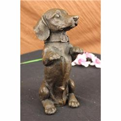 Hand Made Large Pup Hush Puppy dog Bronze Sculpture Statue Figurine Art Home