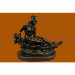 SIGNED DUCHOISELLEI NDIAN MAIDEN IN CANOE BRONZE ART DECO MARBLE BASE SCULPTURE
