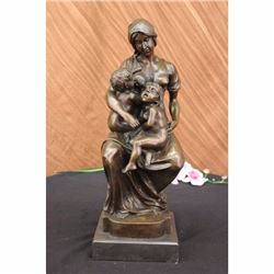 Signed Houdon Mother Breastfeeding 2 Toddlers Semi Nude Bronze Sculpture Statue