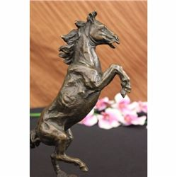 Signed Barye Excited Rearing Horse Bronze Marble Sculpture Racing