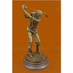 Signed Patou Abstract Tall Golfer Trophy Gift House Decor Golf Golfing Statue