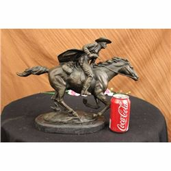 Bronze Marble Statue Country Western Cowboy Horse Ranch