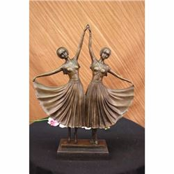 Signed Large~Chiparus~Two Russian Dancer Bronze Sculpture Art Nouveau Statue LRG