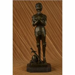 Saint Joan of Arc Maid of Orleans French Praying Heroine Soldier Bronze Statue