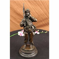 A Tribute to American Soldiers by Fisher Bronze Sculpture Marble Figure