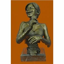 African American Jazz Band Girl Singer with Microphone Hot Cast Bronze Statue