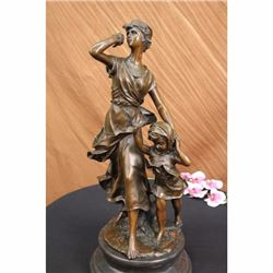 Signed Moreau Village Woman and Her Child Bronze Sculpture Marble Base