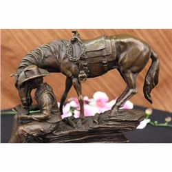 OLD WEST COWBOY WITH HORSE BRONZE SCULPTURE WESTERN ART REMINGTON FIGURINE DECOR
